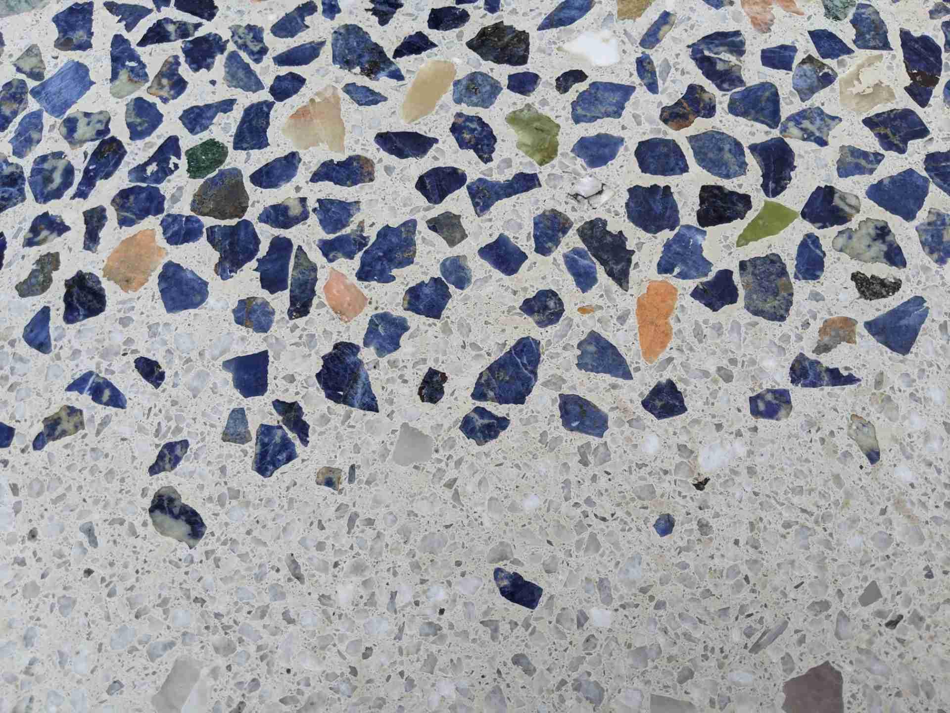 Sculptural Flower bench, detail terrazzo concrete, Inca blue