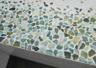 Sculptural Flower bench, detail terrazzo concrete, green aventurine