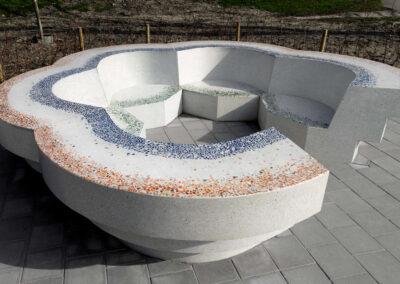 Flower bench in terrazzo concrete