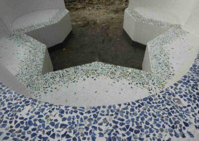 Sculptural Flower bench, terrazzo concrete