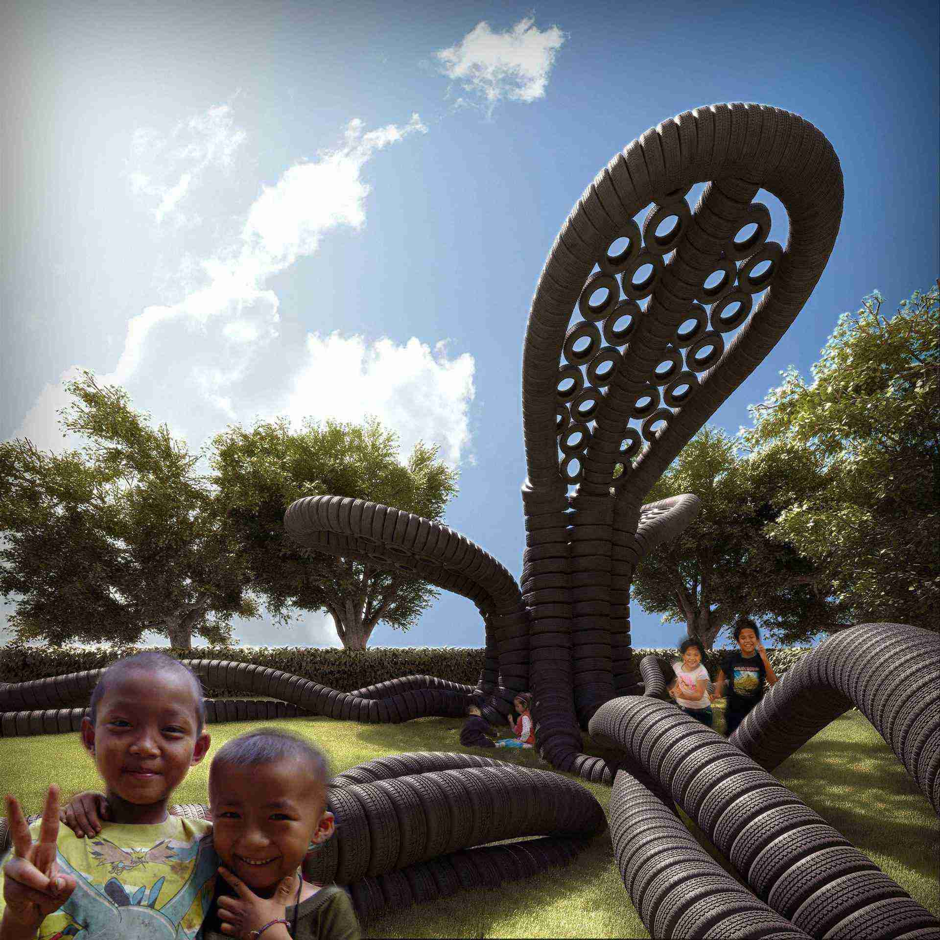 Rubbertree, play area for kids, used car tyres